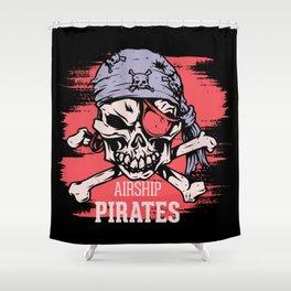 Airship Pirates Vintage Graphic Design Art Print Shower Curtain