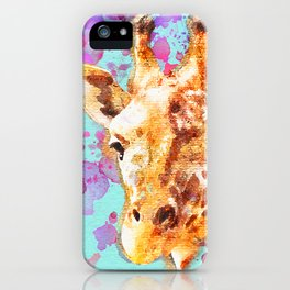 Giraffe Paintng, Nursery Wall Art, Watercolor, Zoo Animal, Love Giraffes, Gift Idea, Splatter Paint iPhone Case