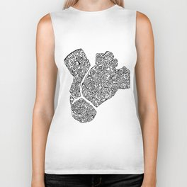 anatomical heart abstract doodle silhouette Biker Tank
