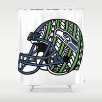 seahawks Shower Curtains featuring Polynesian Style Seahawks by Lonica Photography & Poly Designs