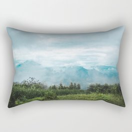 Lush green and blue views over the mountain range and valleys of Guatemala Rectangular Pillow