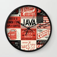 coffee Wall Clocks featuring Coffee by Mary Kate McDevitt