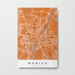 Munich, Germany Map | Coffee & Blue | More Colors, Review My Collections Metal Print