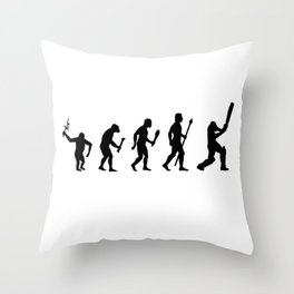 The Evolution Of Man and Cricket Throw Pillow