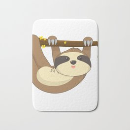Cute Hanging Sloth In a tree Animal T-Shirt Bath Mat