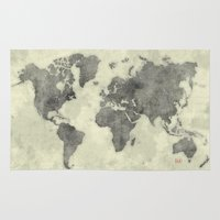 vintage map Area & Throw Rugs featuring World Map Black Vintage by City Art Posters