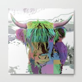 Highland Longhorn Tartan Cow Metal Print