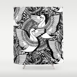 Stylish Swans in Monochrome Black and White Shower Curtain
