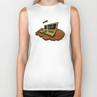 spaceship Biker Tanks featuring SPACEship by Tomas Jordan