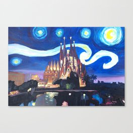 Starry Night in Barcelona - Van Gogh Inspirations with Sagrada Familia Canvas Print
