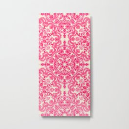Hot Pink & Soft Cream Folk Art Pattern Metal Print