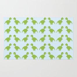 Light Green Pixel Dino Pattern Rug