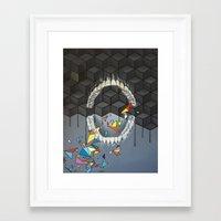 rooster teeth Framed Art Prints featuring Teeth by VikaValter