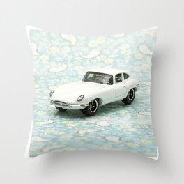 Vintage 1961 Jaguar Type E Matchbox Throw Pillow