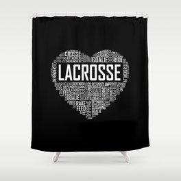 Love Lacrosse Heart Shower Curtain