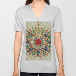 Vintage Compass Rose Diagram (1502) Unisex V-Neck