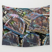 cage Wall Tapestries featuring Lobster cage by Claude Gariepy
