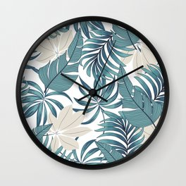 Abstract seamless tropical pattern with bright plants and leaves on a delicate background. Seamless exotic pattern with tropical plants. Beautiful seamless vector floral pattern. Wall Clock
