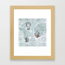 Hot Air Balloons on Antique Map - blue Framed Art Print