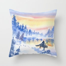 Apprentice Hunter and His Pet Throw Pillow