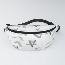 Chevrons and Stars Black and White Fanny Pack