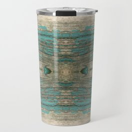 Weathered Rustic Wood - Weathered Wooden Plank - Beautiful knotty wood weathered turquoise paint Travel Mug