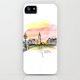 London, Big Ben. Watercolor and ink. iPhone Case