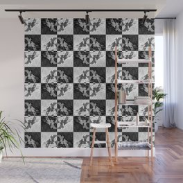 Swimming Glyphs and Sunflowers: Checkered Version Wall Mural