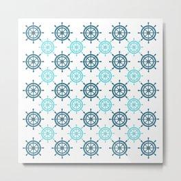 Nautical Seafarer Wheel Retro Seamless Pattern Metal Print