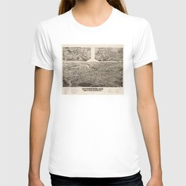 Vintage Pictorial Map of Rochester NH (1884) T-shirt
