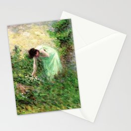 Gisors, France Woman Picking Flowers - Maximilien Luce Stationery Cards