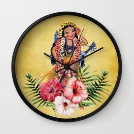 Hula Doll With Ukelele and Big Pink Flowers Wall Clock