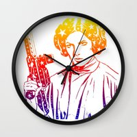 princess leia Wall Clocks featuring Princess Leia by mchlsrr