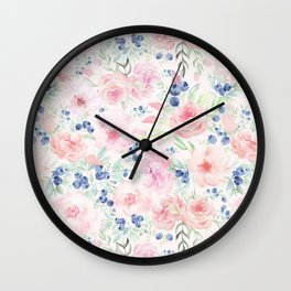 Midsummer Watercolor Roses And Blueberries  Wall Clock