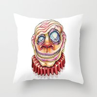 clown Throw Pillows featuring Clown by Kikillustration