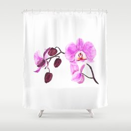 pink orchid flower watercolor painting Shower Curtain