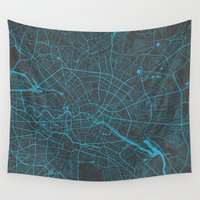 berlin Wall Tapestries featuring Berlin by Map Map Maps