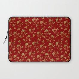 GOLDEN ROSE FLOWERS ON BURGUNDY Laptop Sleeve