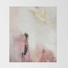 Sunrise [2]: a bright, colorful abstract piece in pink, gold, black,and white Decke