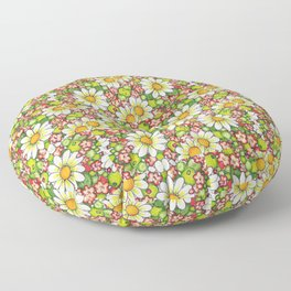 Christmas Daisy and Berries Pattern Floor Pillow