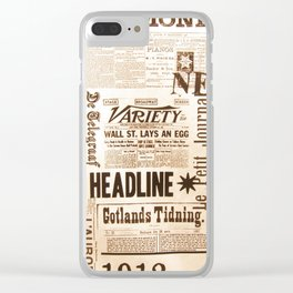 Vintage Newspaper Ads Black and White Typography Clear iPhone Case