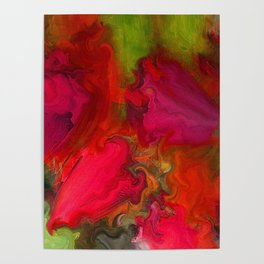 Flower Mirage in Red Poster