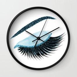 Glittery blue lashes illustration Wall Clock
