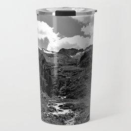 chairlift river kaunertal alps tyrol austria europe black white Travel Mug
