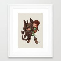 hiccup Framed Art Prints featuring Hiccup & Toothless - Childhood  by David Tako