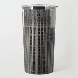 Chicago Tribune Tower Building Black and White Photo Travel Mug