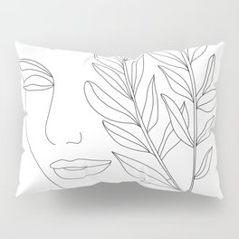 Minimal Line Art Woman Face Pillow Sham