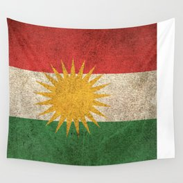 Old and Worn Distressed Vintage Flag of Kurdistan Wall Tapestry