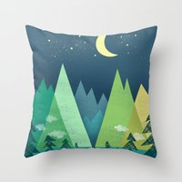 road Throw Pillows featuring The Long Road at Night by Jenny Tiffany
