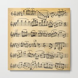 Antique Music Notes Metal Print